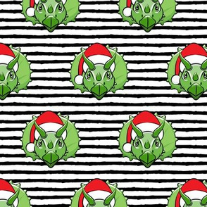 Christmas Triceratops - green on black stripes