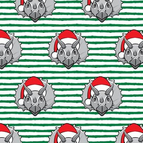 Christmas Triceratops - grey on green stripes