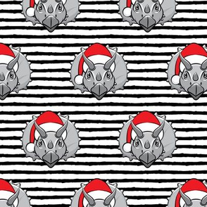 Christmas Triceratops - grey on black stripes