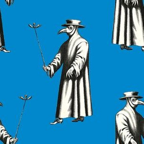 Plague Doctor on Bright Blue