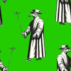 Plague Doctor on Bright Green