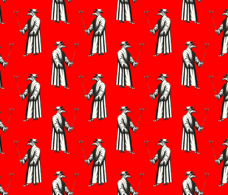Plague Doctor on Bright Red fabric by ameliae on Spoonflower - custom fabric