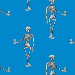 Skeleton on Bright Blue