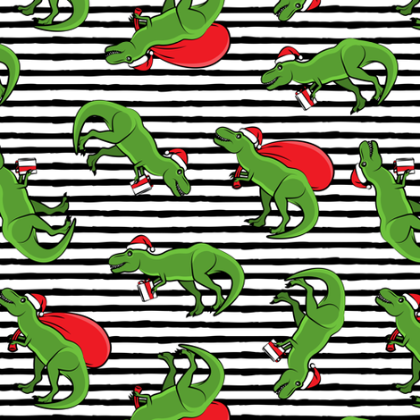 Christmas Trex - toss on black stripes fabric by littlearrowdesign on Spoonflower - custom fabric