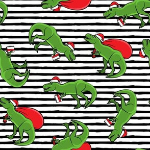 Christmas Trex - toss on black stripes