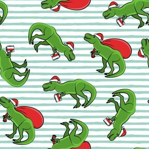 Christmas Trex - toss on mint stripes