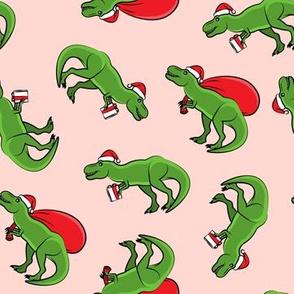 Christmas Trex - toss on pink