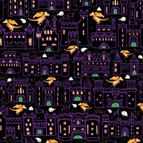 Creepy Castles // Quirky Halloween Haunted House Neighborhood with Bats + Ghosts in Purple, Black, and Orange