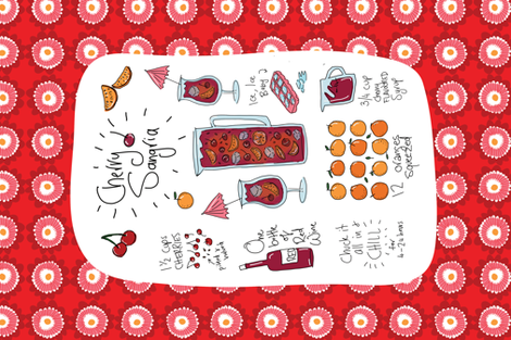 Cherry sangria cocktail fabric by laurawrightstudio on Spoonflower - custom fabric