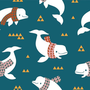 Beluga whales with geometric scarves