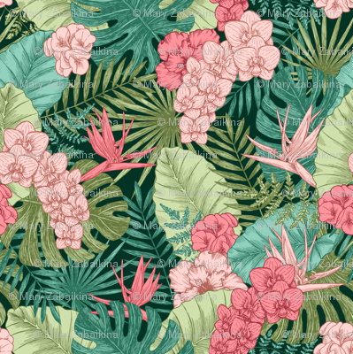 Exotic flowers and leaves