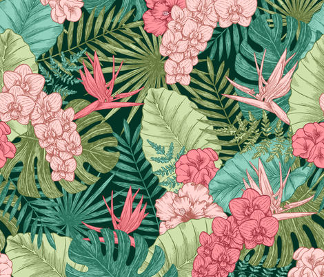 Exotic flowers and leaves fabric by adehoidar on Spoonflower - custom fabric