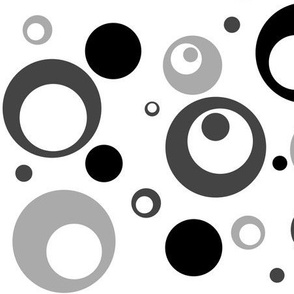 Circles and Dots Grayscale Black