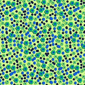 60s Daisies - blue on green