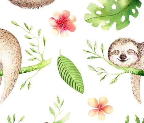 sloths 2 fabric by one_proud_grandma on Spoonflower - custom fabric