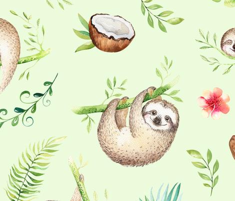 sloths5-2 fabric by one_proud_grandma on Spoonflower - custom fabric