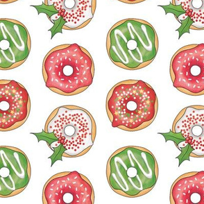 Christmas Donuts Red and Green - 2 inch