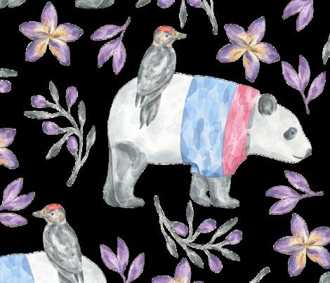 BEST_FRIENDS Panda n bird winter fabric by one_proud_grandma on Spoonflower - custom fabric