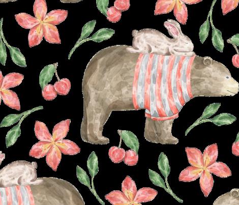 BEST_FRIENDS Bunny n Bear Winter fabric by one_proud_grandma on Spoonflower - custom fabric