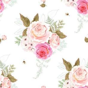 """8"""" Vintage Roses - White"""