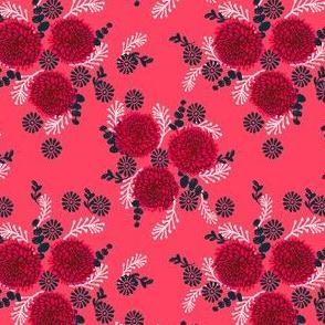 chrysanthemums // linocut florals - bright pink
