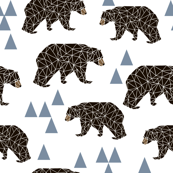 geo bear fabric // blue triangle geo trendy hipster bear woodland kids nursery baby design