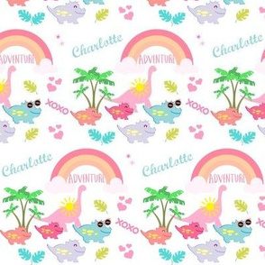 dino SMALL425 - tropical adventure-pink-PERSONALIZED for Charlotte
