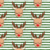 Reindeer - green stripes - Holiday fabric