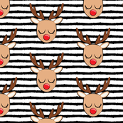 Reindeer - black stripes - Holiday fabric