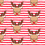 Reindeer - red stripes - Holiday fabric