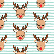 Reindeer - aqua stripes - Holiday fabric