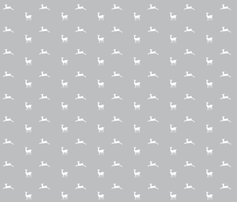 Deer 2 - SMALL322 gray white fabric by drapestudio on Spoonflower - custom fabric