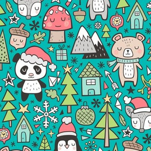 Christmas Holidays Animals Doodle with Panda, Deer, Bear, Penguin and Trees on Teal Green