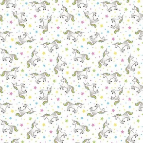 Unicorns - White and Rainbow scatter, small scale