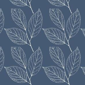 Leaves, white on navy blue