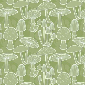Mushrooms - Olive Green