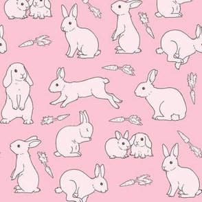 Rabbits Monochrome pink