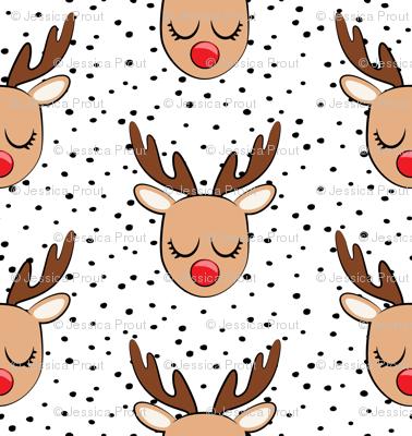 Reindeer - black polka dots - Holiday fabric