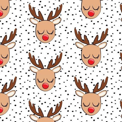 Reindeer - black polka dots - Holiday fabric fabric by littlearrowdesign on Spoonflower - custom fabric