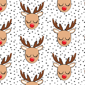 Reindeer - black polka dots - Holiday fabric