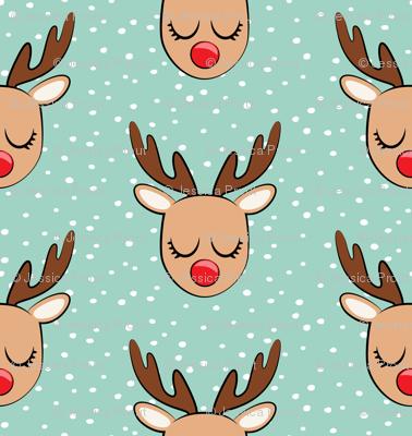 Reindeer - white polka on dark mint - Holiday fabric