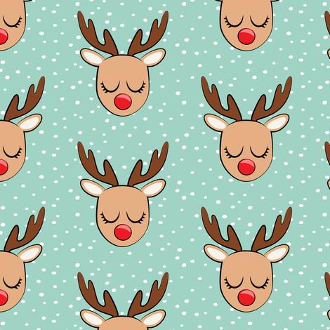 Reindeer - white polka on dark mint - Holiday fabric fabric by littlearrowdesign on Spoonflower - custom fabric