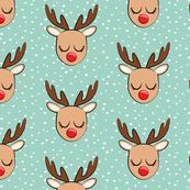 Reindeer - white polka on dark mint - Holiday fabric