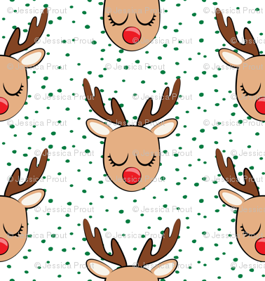 Reindeer - green polka - Holiday fabric