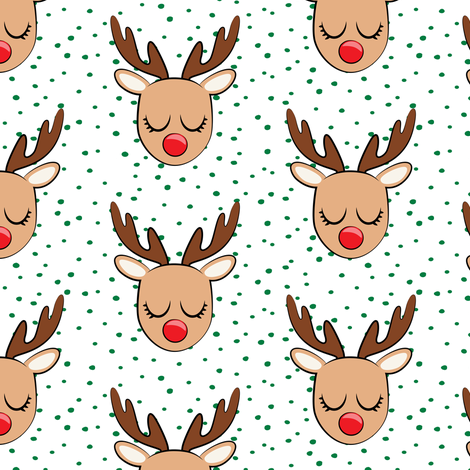 Reindeer - green polka - Holiday fabric fabric by littlearrowdesign on Spoonflower - custom fabric
