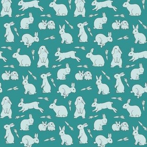 Rabbits - monochrome teal