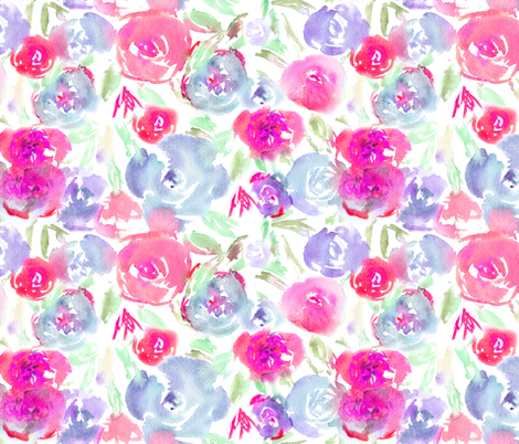 Watercolor floral pattern in pink and indigo fabric by katerinaizotova on Spoonflower - custom fabric
