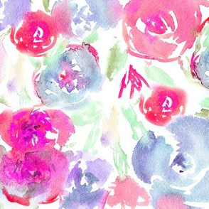 Watercolor floral pattern in pink and indigo