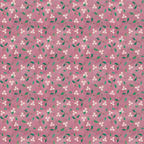 Dusky Pink Calico Flowers fabric by leah_day on Spoonflower - custom fabric