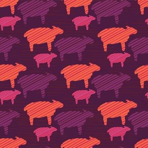 Orange Purple and Pink Colorful Baby Sheep
